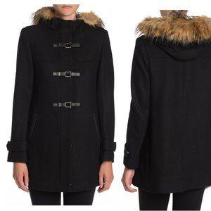 NWT Cole Haan Wool Blend Coat Faux Fur Hood Sz 8